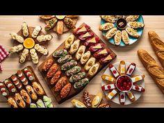 Idei de platouri cu aperitive - Crostini · Delicatese.net Food Presentation, Bruschetta, Guacamole, Nutella, Pesto, Waffles, Dinner Recipes, Dairy, Appetizers