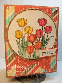 real red, tangerine, daffodil flowers, retro fresh dsp. middle flowers are stamped on scrap, cut out. CS - brown sugar, tangerine, vanilla