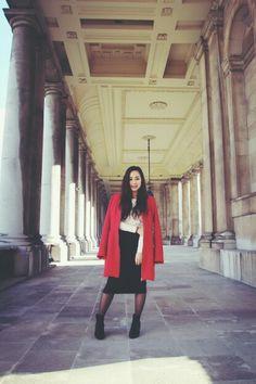 Feeling elegant in midi skirt, white croptop and orange coat :))