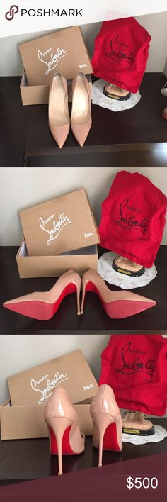 Tan Kate heel. Like new with box and dust bag Christian Louboutin tan Kate heel Christian Louboutin Shoes Heels
