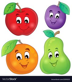 Fruits Clipart - Digital Clip Art - Fruit - Personal and commercial use Drawing For Kids, Art For Kids, Crafts For Kids, Paper Fruit, Funny Fruit, Fruit Cartoon, Decorate Notebook, Smileys, Fruit And Veg
