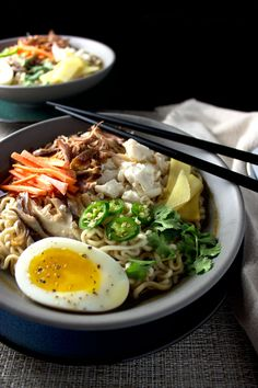 -Asian Pulled Pork and Crab Ramen Soup- these would also be a good recipe for leftover pulled pork meat...