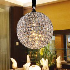 "Luxury 12"" Crystal Living Room Pendant Lights Crystal Bar Counter Pendant Lamp Dining Room Restaurant Hanging Lighting Fixtures"