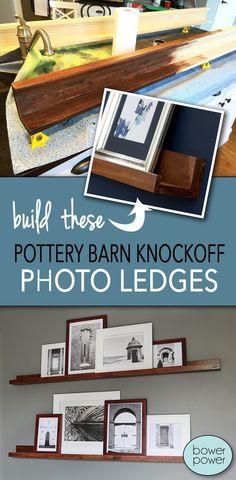 DIY shallow shelves, Pottery Barn Knockoff Photo Ledges - Bower Power Blog