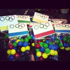 Jack's Olympic Birthday Party Favors. Gumballs!!