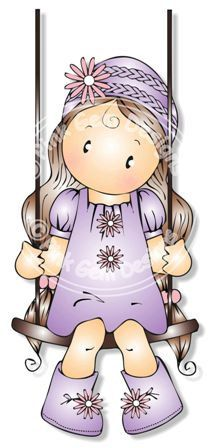 Цифровой (Digi) Хлоя на качелях Stamp - День рождения, День матери