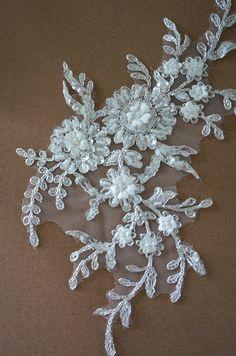 ivory beaded lace applique, alencon lace applique for bridal veil, wedding gown , bridal dress