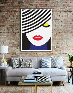 Pop Art Poster Face Illustration Hopome Decor by LovelyPosters