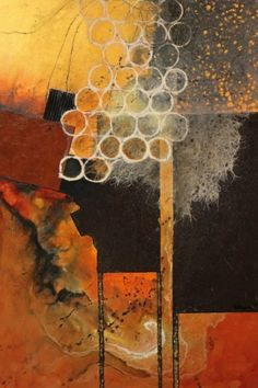 Beehive mixed media textured abstract collage Carol Nelson Fine Art, painting by artist Carol Nelson