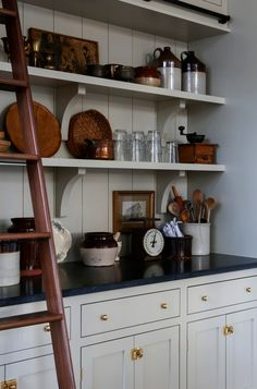 French Country Modern Kitchen — House of Valentina Kitchen Shelves, Kitchen Redo, Kitchen Dining, Kitchen Makeovers, Kitchen Cart, Kitchen Cabinets, Cottage Kitchens, Home Kitchens, Country Kitchens
