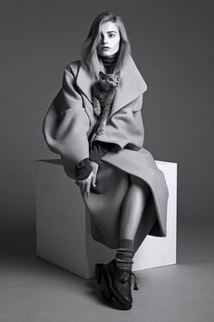 The Gray Lady: Fall's Oversize Layers and Woolens. From cashmere sweaters to oversize coats, gray clothing is the color of the season. Photography by Lachlan Bailey for WSJ. Magazine, Styling by Alastair McKimm