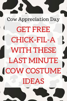 picture regarding Chick Fil a Printable Cow Costume named Chick-Fil-A Cow Appreciation Working day