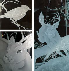 Deer jumping glass carving by Fernando inspired by Nature artist Robert Bateman. My web site www.reyesglass.com