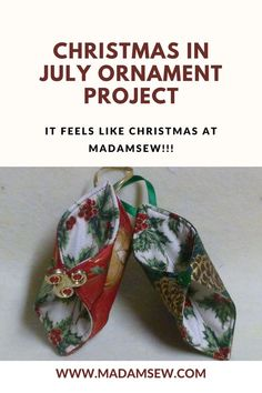 It's Christmas in July here at MadamSew! This is a quick and easy project and a fun way to use up some of your stash of Christmas prints while making lovely gifts for your family and friends. These are so fast, they would make wonderful party favors for your quilt club's Christmas luncheon too! Sewing Blogs, Sewing Tutorials, Diy Christmas Ornaments, Christmas Decorations, Christmas In July, Easy Projects, Quilts, Crafts, Stitch