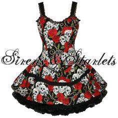 VOODOO VIXEN LADIES NEW GOTHIC ROSE SKULL MINI PARTY PROM CLUBBING CORSET DRESS