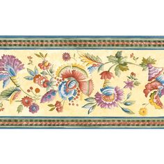 Maximize the amount of color in your décor with the bold Jacobean floral motif of the Brewster Michelle Floral Trail Wall Border .