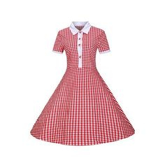Red Turndown Collar Plaid Print A Line Dress ($25) ❤ liked on Polyvore featuring dresses, red, knee length dresses, red short sleeve dress, sleeved dresses, a line dress and red a line dress