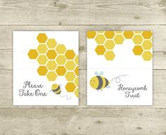 Table Tent Cards  Bee Baby Shower  Blank Table by CelebrateBabyCo