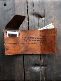 Mens Custom Leather Wallet Walter Mitty Wallet par RedLeafLeather