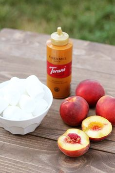 Salted caramel peach s'mores - possibly a healthy summer treat!
