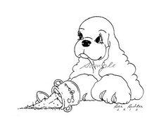 Print of Ink Drawing Cocker Spaniel w/ Spilt Sugar Bowl Signed by Barbara Butler | eBay
