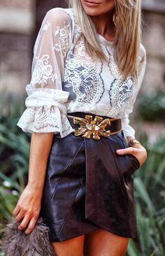 White Net Shirt With Black Skirt Click the picture to see more