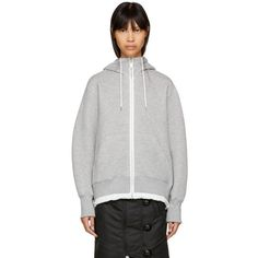 Sacai Grey Sponge Zip Hoodie ($560) ❤ liked on Polyvore featuring tops, hoodies, grey, hooded sweatshirt, zip hoodies, grey zip hoodie, long sleeve jersey and hooded zip sweatshirt