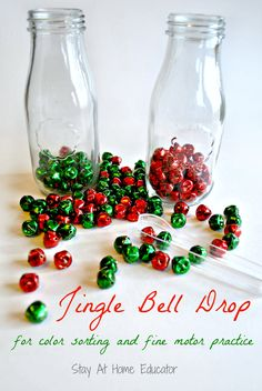 Bell Drop - a Color Sorting Fine Motor Activity Jingle bell drop by Stay At Home Educator is a color sorting and fine motor activity for preschoolers.Jingle bell drop by Stay At Home Educator is a color sorting and fine motor activity for preschoolers. Preschool Christmas Activities, Winter Activities, Holiday Fine Motor Activities, Preschool Centers, Christmas Activities For Preschoolers, Toddler Christmas, Noel Christmas, Xmas, Holiday Themes