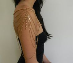 GOLD SHOULDER NECKLACE BODY CHAIN
