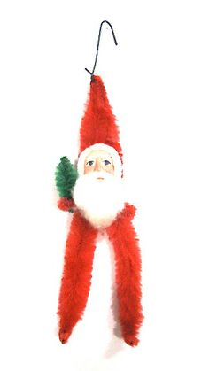 Vintage Chenille Pipe Cleaner Santa with Clay by SmallFavorites, $22.00