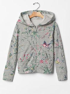 Printed zip hoodie