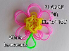 Breloc floare din elastice rubber bands din colectia figurine flori, plante sau fructe din gumite. Rubber Bands, Loom, Diy, Plant, Figurine, Bricolage, Do It Yourself, Homemade, Fabric Frame