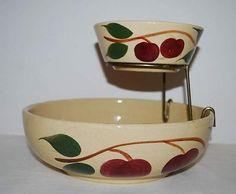 Vintage Watt Pottery Chip & Dip Bowl Set Apple Leaves USA in Pottery & Glass, Pottery & China, China & Dinnerware | eBay