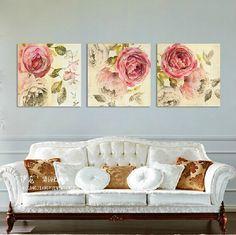 Купить товар3 панелей Холст Розовый Пион Картина Маслом отпечатано Пион цветок китайская живопись уолл pictures home deco холст искусства для гостиной номер в категории Рисование и каллиграфияна AliExpress.                                                   Обратите внимание:                           1