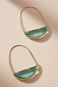 New Ideas - - Anthropologie Halbmond Creolen . New Ideas – – Anthropologie Halbmond Creolen Anthropo Emerald Earrings, Gold Hoop Earrings, Crystal Earrings, Crystal Jewelry, Silver Jewelry, Fine Jewelry, Stud Earrings, Silver Ring, Gold Jewellery