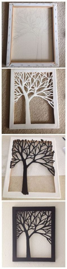 Sillouhette cut-out de uma árvore sobre tela mais - >> craftsanddiyideas.com