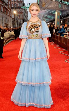 Anya Taylor-Joy from 2017 BAFTA Film Awards: Red Carpet Arrivals  The Split actress opts to mix fierce and frilly.