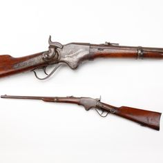 Spencer Lever-Action Repeating Carbine- This was one of the more technologically advanced firearms of the Am. Civil War. It used a state-of-the-art .56-56 rimfire metallic cartridge that loaded from the rear of the stock in a spring-loaded tubular magazine. The inventor, Christopher Spencer, was once employed by Samuel Colt. Working there gave Spencer the means & inspiration to later produce this sophisticated piece of firearms technology that was used to great effect during the Am. Civil…