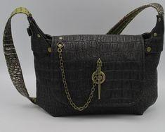 Gothiic Celtic Medieval Brown Crocodile Leather and Faux Leather Spike Shoulder Bag -- Livingstone's Guide Leather Bags, Crocodile, Celtic, Messenger Bag, Medieval, Steampunk, Satchel, Victorian, Shoulder Bag
