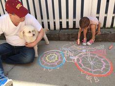 Grandpa Dave Sophie and Arya playing chalk 2016