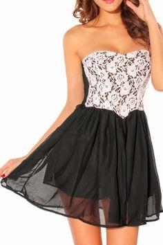 Gorgeous white floral detail strapless black party dress