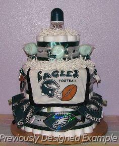 Philadelphia Eagles Diaper Cake- PLEASE someone make this for me whenever I get pregnant!!!!