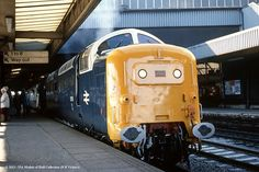 """55015 """"Tulyar"""" stands in Leeds City station whilst working Liverpool to York - - - - - - - Electric Locomotive, Diesel Locomotive, Leeds City, Abandoned Train, Train Pictures, British Rail, Old Trains, Train Engines, Train Tickets"""
