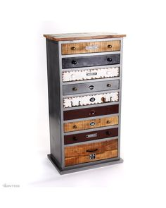 Industrial 9 drawer wood and steel unit with railway insignia on drawers