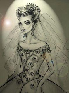 DESENHOS DE MODA: Desenho de vestido de noiva estilo princesa. Prá l...