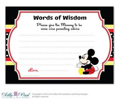 Red black Boy Mickey Mouse Words of Wisdom by adlyowlinvitations, $5.00