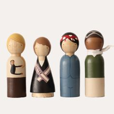 The Trailblazers Perfect for young women or feminists of all ages. The Trailblazers set includes artistic representations of Jane Goodall Suffragette Rosie the Riveter Bessie Coleman FROM THE MAKER: Hand-chiseled from Urapán wood on an electric lathe, these classic wooden peg dolls are finished with USA-made non-toxic