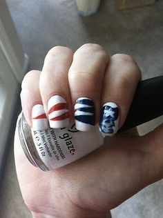 I adore these Patriot nails! I will be doing this for football season this year!