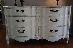 Vintage french provincial dresser, painted with Old White chalk paint and distressed.  Love this for a nursery or child's room! Or a tv stand in a family room.  Or in a foyer.  Or.... anywhere, really.  :-) www.facebook.com/atlantashabbychic