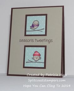 Lawn Fawn Winter Sparrows christmas or winter themed easy DIY card